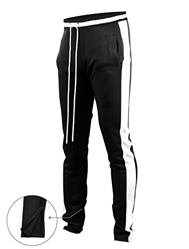 SCREENSHOTBRAND-S41700 Mens Hip Hop Premium Slim Fit Track Pants - Athletic Jogger Bottom with Side Taping-Black-XLarge