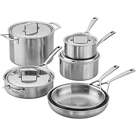 Zwilling J A Henckels 66080 000 Aurora 5 Ply Stainless Steel 10 Piece Cookware Set Silver