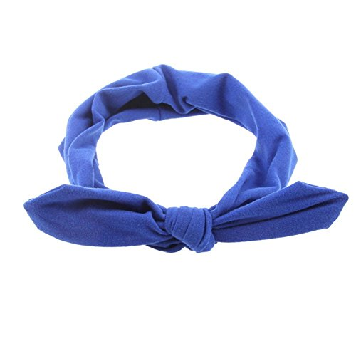 Pop Your Dream Vintage Adults Elastic Headband Cute Bunny Ears Bow Stylish Hairband Twisted Hair Decor Accessory Royal Blue