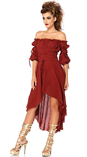 Leg Avenue Women's High Low Peasant Dress Costume, Burgundy, Medium/Large ()