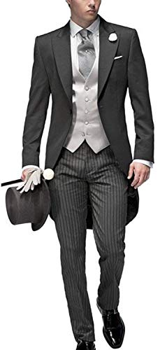 Newdeve Three Pieces Tailored Bridegroom Black Morning Suit Wedding Tuxedo For Men Groomwear -