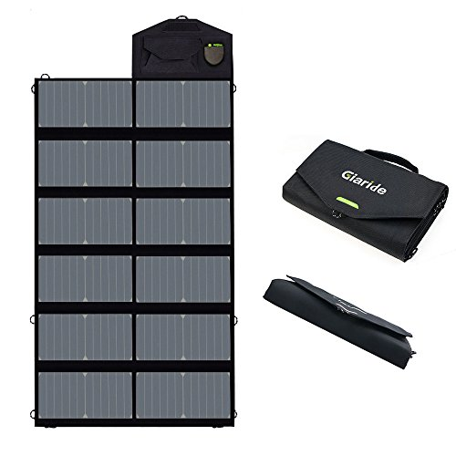 GIARIDE 18V 80W Foldable Solar Charger Dual 5V USB+18V DC Output Sunpower Solar Panel Outdoor Portable Charger for 12V Car Battery, Laptop, Tablet, iPhone, Galaxy, iPad, Camping, Hiking