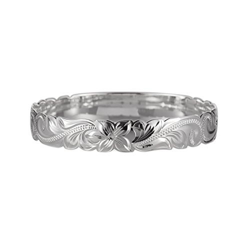 Size 8.5 Sterling Silver 925 Princess Scroll Hawaiian Engraved Bangle 10mm - Aloha Bracelet
