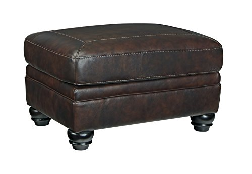 Ashley Furniture Signature Design - Bristan Traditional Style Faux Leather Ottoman - Walnut Brown