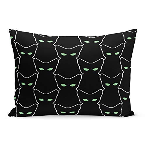 Emvency Throw Pillow Covers White Outline Black Cat for Halloween Pets Retro Many Pillow Case Cushion Cover Lumbar Pillowcase Decoration for Couch Sofa Bedding Car Home Decor 20 x 36 inchs