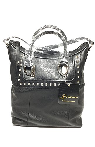 B. Makowsky Black Jett Tote (Makowsky Black Leather)