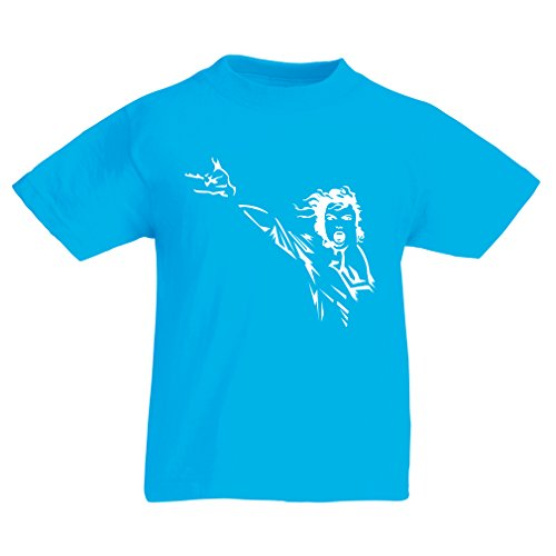 T Shirts For Kids I Love MJ - Vintage Music Band Merch (7-8 Years Light Blue Gold)