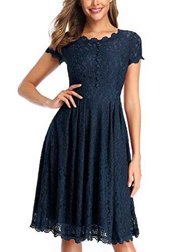 OWIN Women's Retro Floral Lace Cap Sleeve Vintage Rockabilly Swing Prom Party Bridesmaid Dress Blue]()