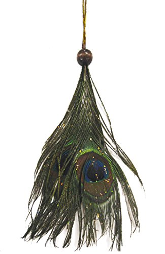 Ornaments Feather Christmas (Glitter Peacock Feather Christmas Ornament - 7