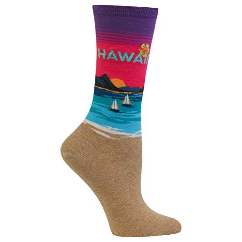 Hot Sox Women's Originals Classics Crew Hosiery, Hawaii (Purple), Shoe Size 3-9/Sock Size 8-10