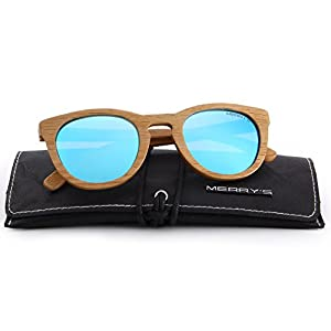 MERRY'S Polarized Full Frame Wooden Coated Floating Sunglasses Mens/Womens vintage Eyewear S5268 (Blue, 48)