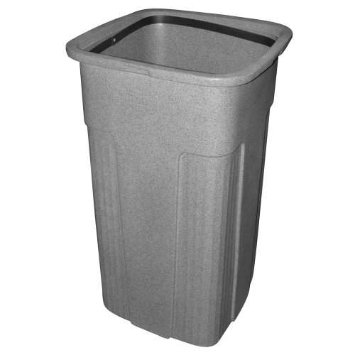 Toter 0SSC25-R1GST Slimline Square Trash Can, 25-Gallon, ()