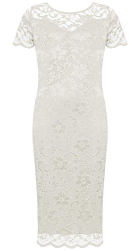 Fancy Bodycon Neck Lace Sleeve Floral Cream Short Dress 21FASHION Dress Womens Round Ladies Print Midi Party qwxY7npU