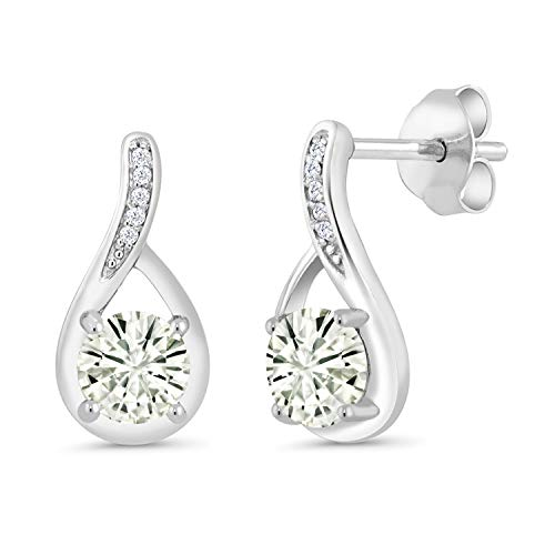 925 Sterling Silver Dangle Earrings Forever Classic (KLM) Round 1.00ct (DEW) Created Moissanite by Charles & Colvard and Diamond