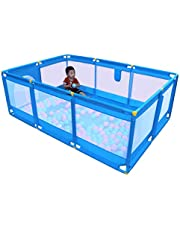 Olpchee Portable Folding Baby Playpen Playard Rectangle Toddlers Play Yard with Door Activity Center Child Play Game Fence (Blue)