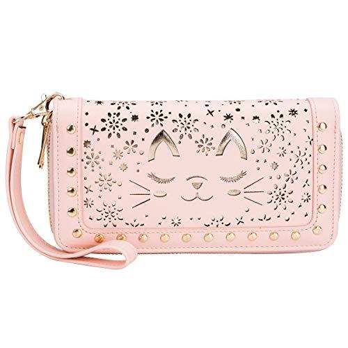 Women's Clutch Wallet RFID Blocking Double Zipper Around Wristlet Long Credit Card Purse Handbag with Wrist Strap (Blush)