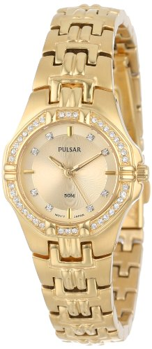 Pulsar Women's PTC390 Crystal Accented Gold-Tone Stainless Steel Watch