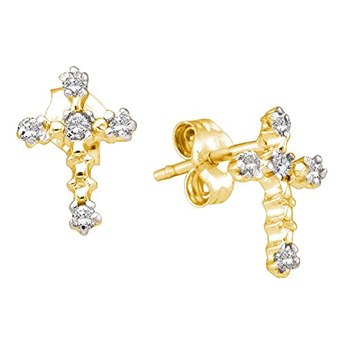 14kt Yellow Gold Womens Round Diamond Cross Religious Earrings 1/20 Cttw