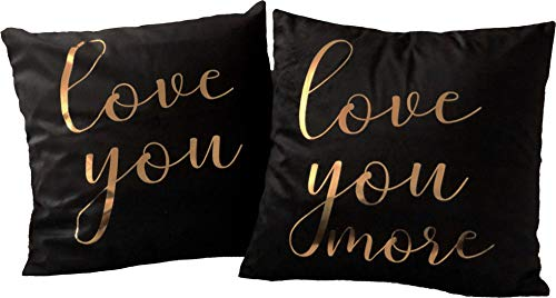 (Black and Gold Throw Pillow Cover - Set of 2 Rose Gold Decorative Throw Pillow Cover 18