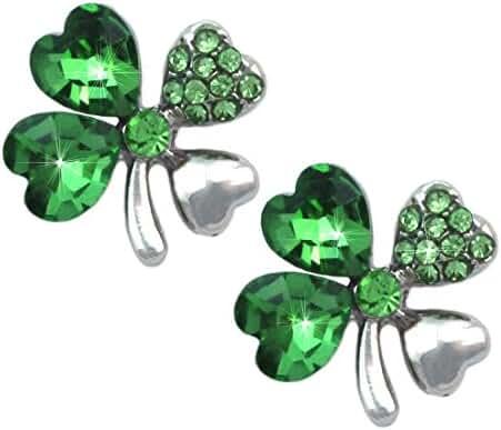Heart Shape 4 Leaf Clover Shamrock Stud Post Earrings