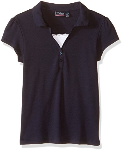 Cap Sleeve Polo Top (Nautica Plus Girls' Uniform Short Sleeve Polo With Cami, Navy, Medium)