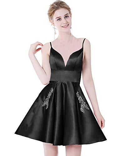 لباس مجلسی کوتاه دخترانه کوتاه V-گردن زنانه MEILISAY لباس Sparkly Beaded Prom Homecoming