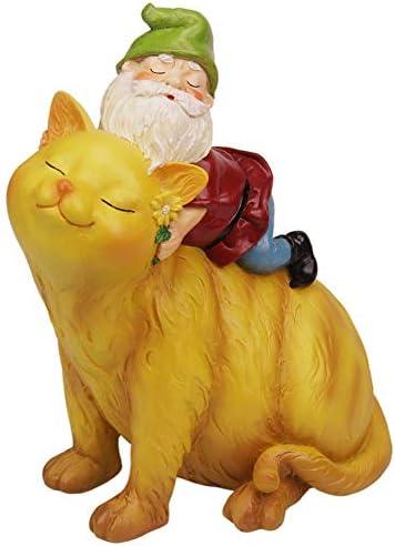 CCOQUS Garden Gnome Cat Statue – Garden Decor Outdoor Patio Lawn Yard Christmas Decoration