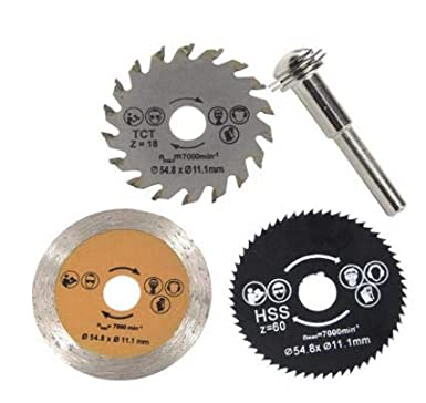 Yunnyp Hoja de sierra circular Yunnyp Mandril 3pcs 54.8mm HSS Mini Hoja de sierra circular de madera Herramienta de cuchilla de corte