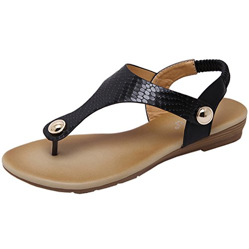 Sandals Beauty Thongs D2C Black Slingback Women's Gladiator Flat Roman PWqO0
