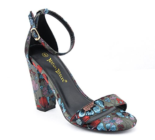 CALICO KIKI PHOEBE-CK02 Women's Casual Shimmering Floral Fabric Ankle Strap Block Heel Open Toe Pumps (10 US, - Dress Phoebe In Black