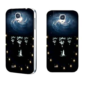 Samsung Galaxy S5 I9600 Hard Plastic Front and Back Protector Snap on Cover Case - Marvel Nebula Galaxy Wolf (sparkl dots whites1139)