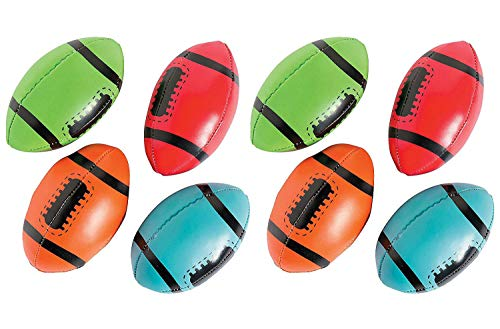 Foam Footballs - Pack of 8 - 4 Inches Assorted Colors Soft Squeeze Sports Stress Balls - Relaxation and Anxiety Relief - for Kids and Adults, Great Party Favors, Fun, Toy, Gift, Prize - by Kidsco -