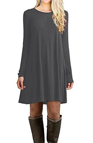 Viishow Womens Casual Loose Fit Long Sleeve T Shirt Dress Basic Midi Tunic Dress Grey XL