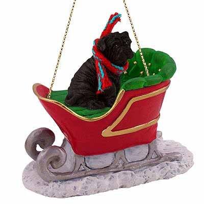 Shar Pei Sleigh Ride Christmas Ornament Black - DELIGHTFUL!