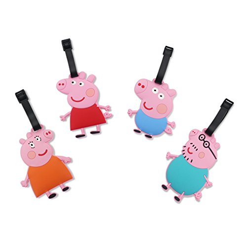 Finex Set of 4 Peppa Pig and Family Travel Luggage Tags Bag Tag with Adjustable Strap George Daddy Mommy Mummy Pig