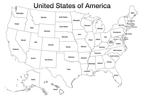 United states of america map usa coloring art poster print for Us map coloring page