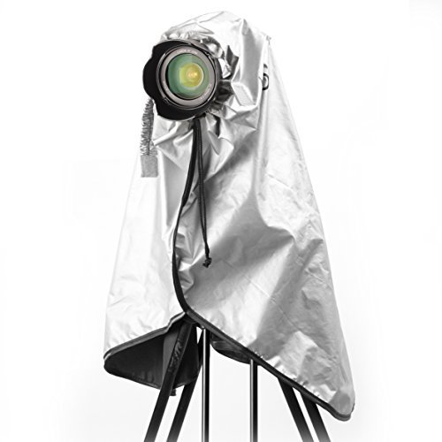 Movo CRC03 Extra-Long Waterproof Rain Coat for DSLR Camera, Lens & Tripod (Metallic Gray) by Movo