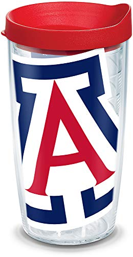 Tervis 1146818 Arizona Wildcats Colossal Tumbler with Wrap and Red Lid 16oz, Clear