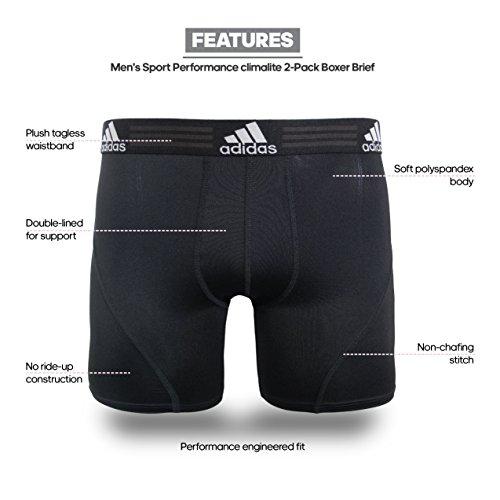 adidas Men's Sport Performance Boxer Briefs Underwear (2 Pack), Black/Black Black/Black, MEDIUM