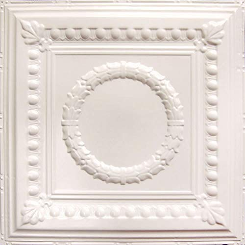 """American Tin Ceilings Nail Up Kit Pattern #7, 5 Pack (24"""" x 24"""", Creamy White Satin)"""