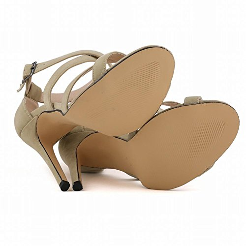 With Multi autumn Sandals High apricot Ball Fine Summer Flannel Heels Women Toed Open and Colored OvqTfZ0fcw