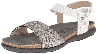 Naot Women's Sabrina Flat Sandal, Silver Pebble Combo, 35 EU/4 M US