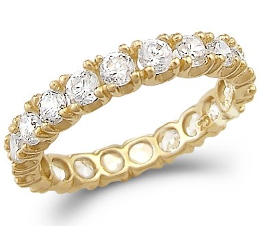 gold cz dp zirconia com wedding white carat cubic eternity band bands size amazon