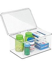 mDesign Wielofunkcyjne pudełko do przechowywania leków, makijażu lub kosmetyków - plastikowy pojemnik na witaminę - pudełko na tablet z pokrywką - przezroczyste