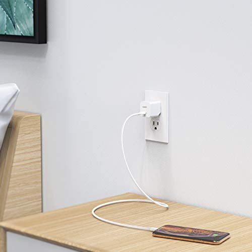 PD Charger, AUKEY USB C Charger with 18W Power Delivery 3.0, Ultra-Compact Wall Charger, Compatible iPhone Xs/XS Max/XR, Google Pixel 2/2 XL, Samsung Galaxy S9+ / Note8 and More-White