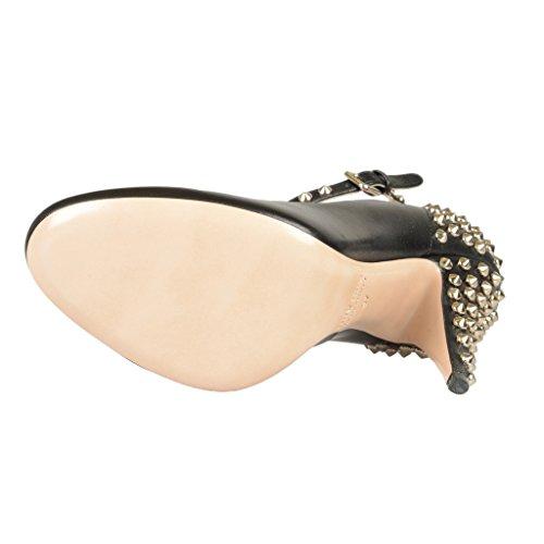 Borchie In Pelle Color Cuoio Decorate Scarpe Con Tacco Alto Nere