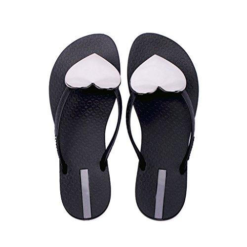 en Décoration romaine de EU39 chaussures bas Couleur plat style taille SHI CN39 plage LI Gris forme Noir coeur UK6 été tongs féminin 0 SHOP Pantoufles XIANG XqTInWPwA