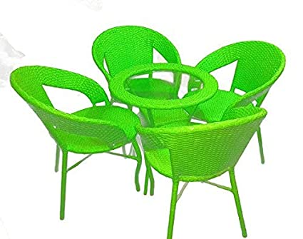 Wicker HUB GC03 Outdoor Set 4 Chair 1 Table Green