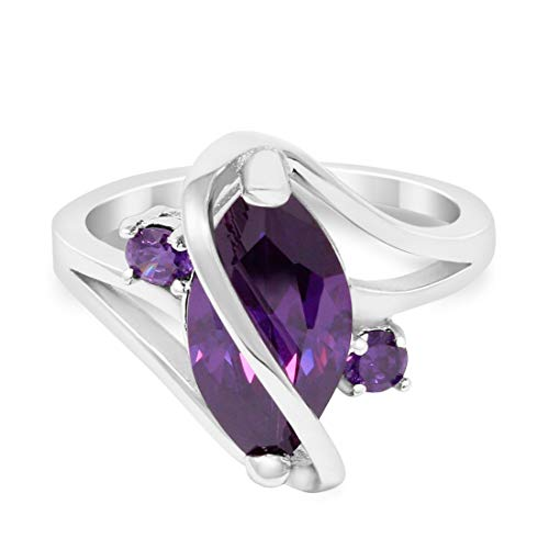 3 Stone Swirl Fashion Ring Marquise Simulated Purple Amethyst 925 Sterling Silver Size 6 ()