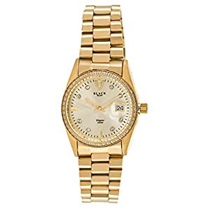 Black Royale Men's Gold Dial Stainless Steel Band Watch - BR42014USBG